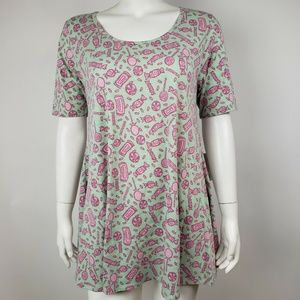 NWT LULAROE Green Pink Candy Perfect T - S